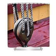 Wooden Ship Block And Tackle 13922  Shower Curtain