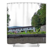 Wooden Walkway As Seen From The Cesky Krumlov Casle Gardens  Shower Curtain