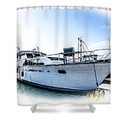 Wooden Yacht In Mooring Shower Curtain