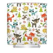 Woodland Animals Shower Curtain by Tiffany Dawn Smith