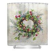 Woodland Berry Wreath Shower Curtain