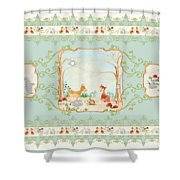 Woodland Fairy Tale - Aqua Blue Forest Gathering Of Woodland Animals Shower Curtain