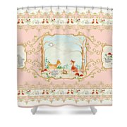 Woodland Fairy Tale - Blush Pink Forest Gathering Of Woodland Animals Shower Curtain