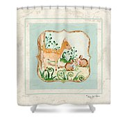 Woodland Fairy Tale - Deer Fawn Baby Bunny Rabbits In Forest Shower Curtain