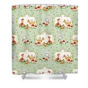 Woodland Fairy Tale - Mint Green Sweet Animals Fox Deer Rabbit Owl - Half Drop Repeat Shower Curtain