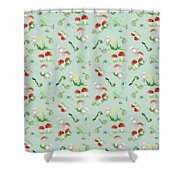 Woodland Fairy Tale - Red Mushrooms N Owls Shower Curtain