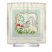Woodland Fairy Tale - Woodchucks In The Forest W Red Mushrooms Shower Curtain