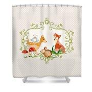 Woodland Fairytale - Grey Animals Deer Owl Fox Bunny N Mushrooms Shower Curtain