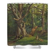 Woodland Scene With Rabbits Shower Curtain