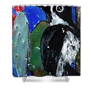 Woodpecker With Prickly Pear Cactus  Shower Curtain