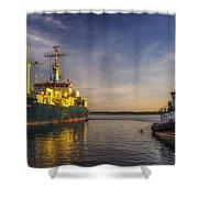 Woods Hole Ship Yard Shower Curtain