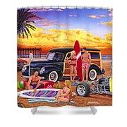 Woody Beach Shower Curtain