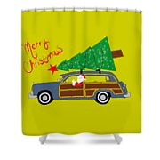Woody Christmas Shower Curtain