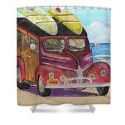 Woody On Beach Shower Curtain