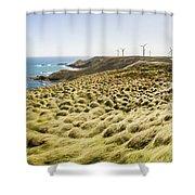Woolnorth Wind Farm And Ocean Landscape Tasmania Shower Curtain