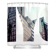 Word Nyc Manhattan Skyline At Sunset, New York City  Shower Curtain