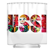 Word Russia Over Traditional Arts Shower Curtain