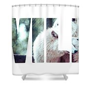 Word Wild Arctic White Wolf  Shower Curtain
