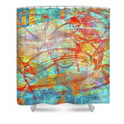 Work 00099 Abstraction In Cyan, Blue, Orange, Red Shower Curtain by Alex Hall