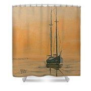 Work Boat At Rest Shower Curtain