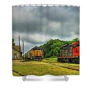 Work Horse Trains 3 Madison Georgia Locomotive Art Shower Curtain