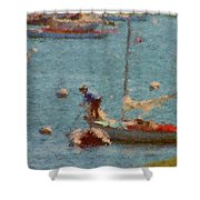 Work These Sails Honey Boothbay Harbor Maine Shower Curtain
