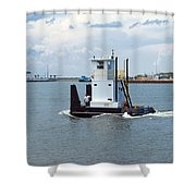 Workboat At Port Canaveral In Florida Shower Curtain