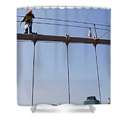 Worker On Top Of Brooklyn Bridge In New York City Shower Curtain