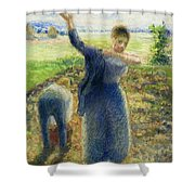 Workers In The Fields 1896-97 Camille Pissarro Shower Curtain