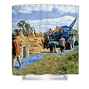 Workers Loading Rice Shower Curtain