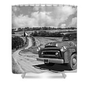 Down On The Farm- International Harvester In Black And White Shower Curtain