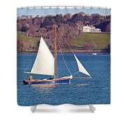 Working Boat At Trelissick Cornwall Shower Curtain
