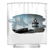 Working Lighthouse Isolated On White Shower Curtain