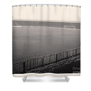 Workington - Borough Park - Covered End 1 - Bw - 1960s Shower Curtain