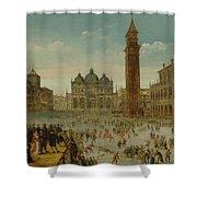 Workshop Of Caullery, Louis De Caulery Circa 1580 - 1621 Antwerp Carnival In Venice. Shower Curtain