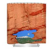 World-famous Pikes Peak Framed By What We Call The Keyhole  Shower Curtain