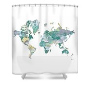 World Map 11 Watercolor Shower Curtain