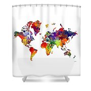 World Map 8 Watercolor Print  Shower Curtain