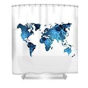 World Map Blue Shower Curtain