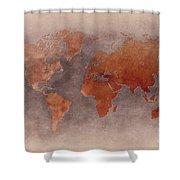 World Map Brown Shower Curtain