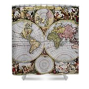 World Map, C1690 Shower Curtain