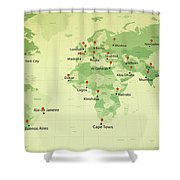 World Map Countries Cities Straight Pin Vintage Shower Curtain