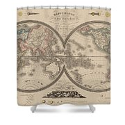 World Map Divided Into Two Hemispheres Shower Curtain
