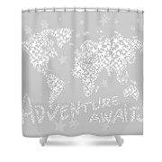 World Map For Kids White Gray Shower Curtain