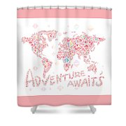 World Map Geometric Colorful Pink Shower Curtain