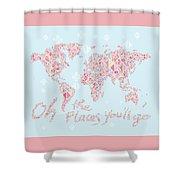 World Map Geometric Pink Mint  Shower Curtain