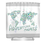World Map Geometric Spring Color Shower Curtain