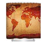 World Map Grunge Style Shower Curtain