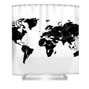 World Map In Black And White Shower Curtain