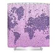 World Map Kotak In Purple Shower Curtain